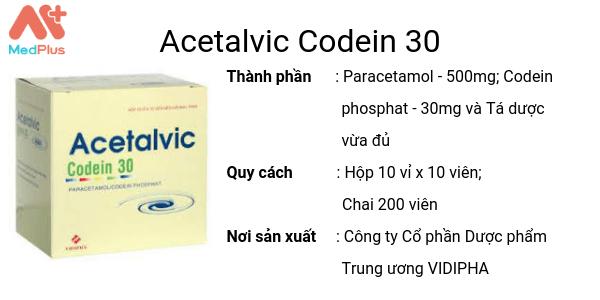 Thuốc Acetalvic Codein 30